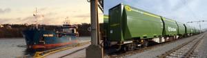 la biomasse transportée par voies maritime et  ferrée